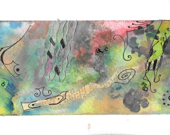 Watercolor and mixed media experimental painting FREE SHIPPING in the US