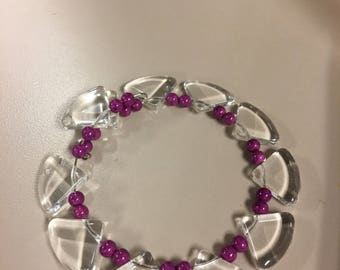 Purple and clear beaded bracelet