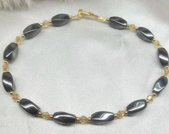 Black and Gold Anklet 14k Gold Hematite Ankle Bracelet Gold Crystal Anklet Gold Filled Anklet Ankle Jewelry BuyAny3+Get1 Free