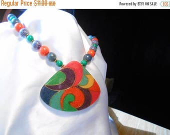 50% Off Sale Primary Colors Beaded Necklace with Pendant