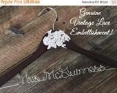 SPRING SALE Vintage Lace Wedding Hanger, Bridal Hanger, Bride Hanger, Wedding Hanger, Rustic Hanger, Vintage Wedding, Personalized Hanger,Ru