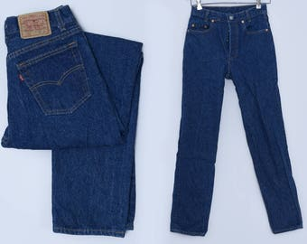 Vintage Levis 701 Student Fit Dark Denim Button Fly High Waisted Jeans 28 x 31