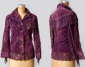 70s Leather Fringe Purple Suede Leather with Arrow Pockets Western Jacket