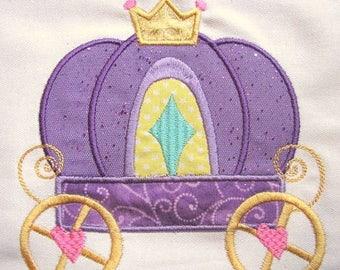 ON SALE Princess Carriage Machine Applique Embroidery Design - 4x4, 5x7 & 6x8