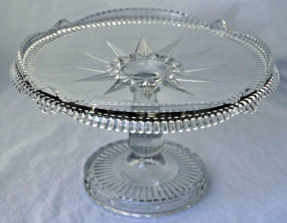 Rare Antique 1888 E A P G AURORA / DIAMOND HORSESHOE Brilliant Glass High Standard Pedestal Cake Stand Lovely Brandy Well n Center Exc Cond.