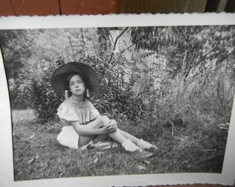 Vintage Snapshot Photo - Do You Like My Hat - Young Girl posing with Large Hat