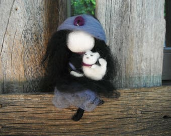 Handmade Needle Felted Doll - Little Gypsy Girl Hold Her Cat