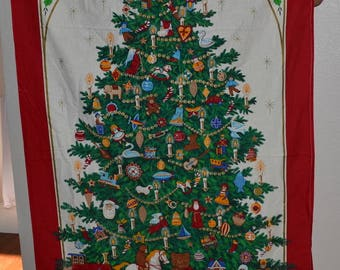 "Vintage Christmas Tree Wall Hanging Fabric Panel Christmas quilt cotton fabric,Cranston print panel 57"" x 34"" new"