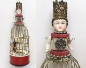 santos inspired doll art, birdcage ornament, original mixed media assemblage, altered art doll ornament, by Elizabeth Rosen
