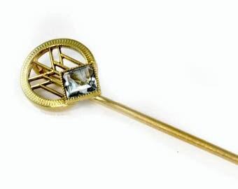 Antique 14K Gold Stick Pin - Art Deco - Aquamarine Stone - in Gift Box