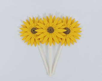 Sunflower Cupcake Toppers Set of 12 for Rustic Party Decor Sunflower Party Decor Garden Theme Party