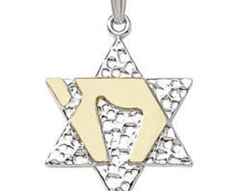 Two Tone Star of David and Chai Pendant - 925 Sterling Silver & 14K Gold Plate