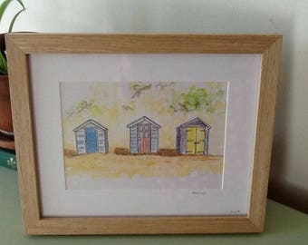 Pen and wash framed beach huts, watercolour beach huts original, original drawing, beach scene illustration, wooden frame, beach decor