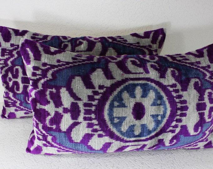 Set of 2 Silk Velvet Ikat Pillow Covers Lp408s, Bohemian pillow, Velvet Ikat Pillow, Velvet Pillow, Velvet Pillow Cover, Ikat Pillows