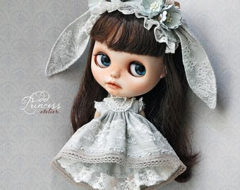 "Luxury Silk Bunny Set ""Love At First Sight"" For Blythe/Pullip Dolls By Odd Princess, Special Set, ""Duck Egg"" Color"