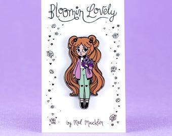 Bloomin' Lovely Hard Enamel Lapel Pin // Strawbertry Violet Variant // Wearable Art, Jewelery, Flowers, Chibi, Cute, Kawaii, Girl