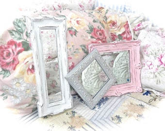 SUMMER SALE Shabby Pink White Gray Distressed Ornate Scalloped Scrolled Small Wall Mirror Picture Frame Cottage Chic Set of 3