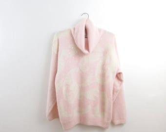 SALE Pink Angora Cowl Neck Sweater - Vintage 1980s Embellished Turtleneck Jumper in Large by Richard + Company