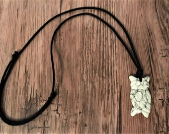 ORGANIC Nursing Necklace / Teething Necklace - White Howlite OWL on Certified Organic Cotton Cord (Adjustable) - 35mm stone