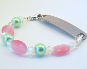Medical Bracelet Attachment - Pink and Green Stretchy Interchangeable
