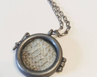 Real Snakeskin Locket // 18in Necklace // Taxidermy // Curiosities // ethically sourced