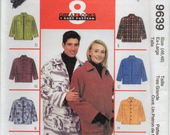 Unisex Shirt Jacket With Front Button Zipper Or Button Closure Plus Size Ex Lrg Sewing Pattern McCall's 9639