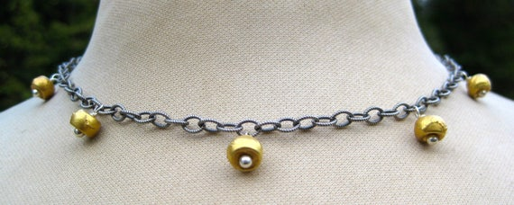 GISELLE  18k Gold Cylinder Droplets on Oxidized Sterling SIlver Cable Chain