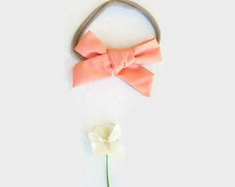 Peach Baby Girl Bow Headband
