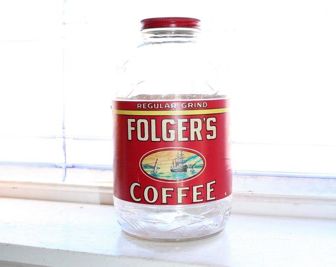 Large Vintage Folger's Coffee Jar 1940s Kitchen Decor 2 Lb. Size
