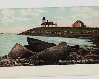 Vintage Postcard, Wickford, Rhode Island, Old Lighthouse, ca 1910