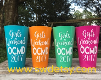 11 Concert Cups /Bachelorette Party Tumblers / Vacation Cups /Customizable Plastic Party Cups /Bridesmaids / Girls Trip / Music Festival C