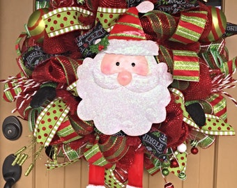 Santa Christmas Wreath ~ Deco Mesh Wreath