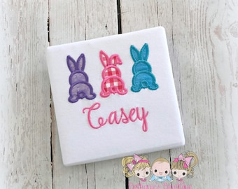 Bunnies Easter shirt - 3 bunnies in a row - bunny tails Easter shirt - girls Easter shirt - 1st Easter shirt - personalized Easter shirt