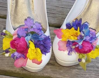 Spring Flower Shoe Clips, Floral Shoe Clips, Bridal Shoe CLips, Wedding Clips for Shoes, Shoe Jewelry, Spring Flowers, Flower shoe clips
