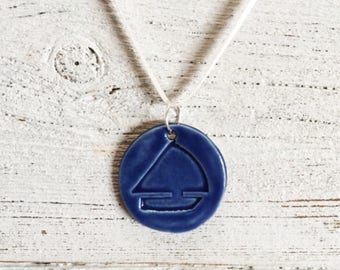 Sailboat Pendant, Ceramics, Royal Blue, Nautical Jewelry, Ocean, Seaside, Unique Gift, Sailboat Jewelry, Ceramic Jewelry