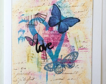 Love Transforms - A5 Blank Greetings Card From Original Mixed Media Painting