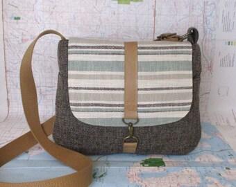 Wyoming // Crossbody messenger bag // Adjustable strap // Vegan purse // Crossover bag // Travel purse // Stripes // Mint // Ready to ship