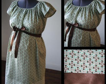 Memorial Day Sale! Maternity Hospital Gown-Cream with Teal and Brown Geometric Print, Floral Band (labor and delivery gown)