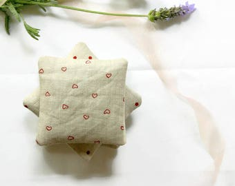 Lavender Pillows, Lavender Sachets -  Set of 3 - Printed Linen Hearts and Dots Scented Gift Mother's Day