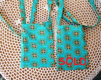 India inspired CELLPHONE POUCH Teal Green Mandalas Fabric Strap Cell Phone Mini Neck Bag Gadget Android Iphone Necklace - Ships free in US