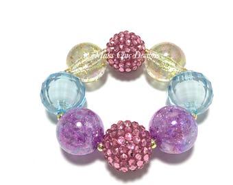 Toddler or Girls Pink, Blue, Purple and Gold Chunky Bracelet - Unicorn Chunky bracelet - Girls Princess bracelet - Pink Mermaid Bracelet