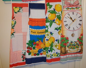 Retro Kitchen Kitsch Style Aprons of 4 Different Stamped Designs on 100 Percent Cotton fabric  in Mint Condition in the original packages