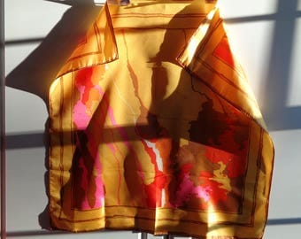 Vintage Psychedelic 1960's Mod Abstract Style Silk Scarf in Great Condition with a warm colorful palette of yellow, pink, orange and brown