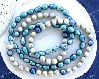 2 Strands Sale Beads, Closeout Destash Beads, Blue Fresh Water Pearl Beads, Rice Potato Fresh Water Pearls Destash Supplies DS-914