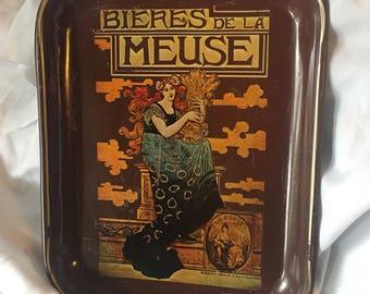 Vintage Art Nouveau Tray Bieres De La Meuse by Marc Auguste Bastard
