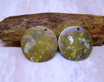 Quenched Patina Pairs, jewelry supply, earring charms pairs, Antique Bronze patina pair