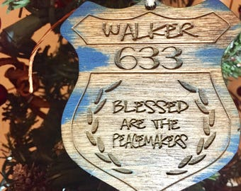 Police ornament, back the blue, police officer, personalize wood ornament, law enforcement, law enforcement, leo, policeman