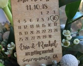 Calendar Save the date, wooden magnets,   Custom save the date, wood tags, personalized save the date