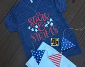 Stars and Stripes Fourth of July Memorial Day Labor Day Patriotic Shirt Tee