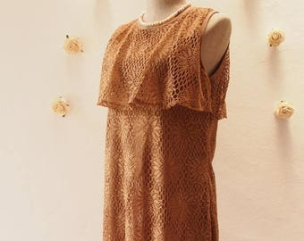 Mid Year SALE Flash SALE Free Shipping- Vintage Stock Summer Lace Tunic Dress or Blouse, Brown Lace, Boho Bohemian Dress, Beach Dress,